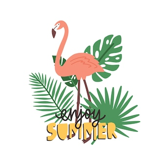 Наслаждайтесь летним слоганом, написанным от руки каллиграфическим шрифтом и украшенным фламинго и экзотической тропической растительностью.
