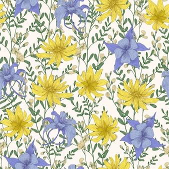 野生の咲く花と白い背景の草原開花ハーブと植物のシームレスなパターン。