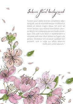 桜の花が咲くと春の背景。テキストのための場所を持つテンプレート。