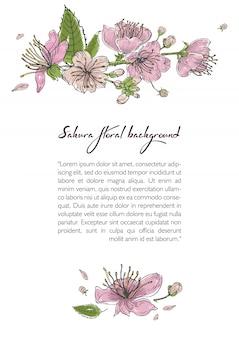 Весной фон с цветущими цветами сакуры. шаблон с местом для текста.