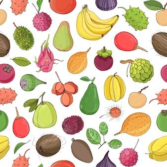 Красочные бесшовные модели с вкусными сладкими свежими сочными экзотическими тропическими фруктами