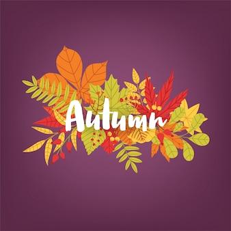 Рука написана каллиграфическая осень слова против пука красочных упавших листьев и ветвей дерева. великолепная надпись и яркая цветная листва. сезонные природные векторные иллюстрации.