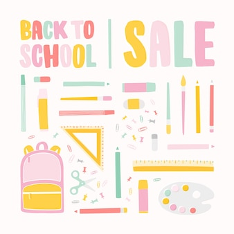 Квадратный баннер шаблон для продажи обратно в школу с буквами написаны красочным каллиграфическим шрифтом и украшены канцелярскими принадлежностями для образования.