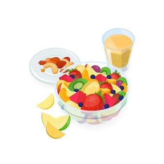 新鮮なエキゾチックなフルーツ、オレンジジュースのガラス、分離されたプレートの上に横たわるナッツで作られたサラダのボウル。おいしい自家製の食事、健康的な朝食用食品。カラフルなベクトルのイラスト。