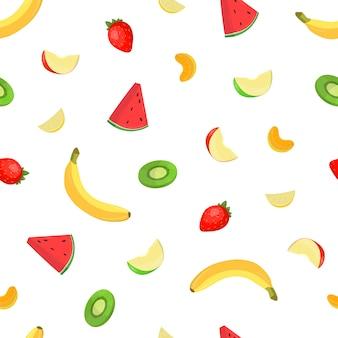 新鮮なおいしいトロピカルフルーツとベリーの明るい色のシームレスなパターン。生の健康食品の背景。布印刷、包装紙、壁紙のベクトル図です。