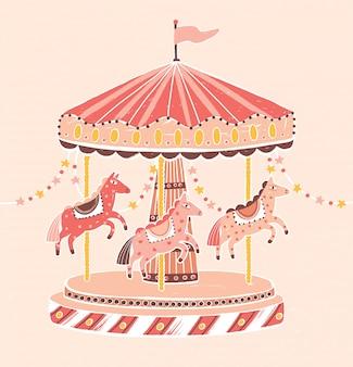 昔ながらのスタイルのカルーセル、ラウンドアバウト、または馬とのメリーゴーランド。花輪で飾られた子供の娯楽のための娯楽乗車。フラットな漫画のスタイルのカラフルなベクトルイラスト