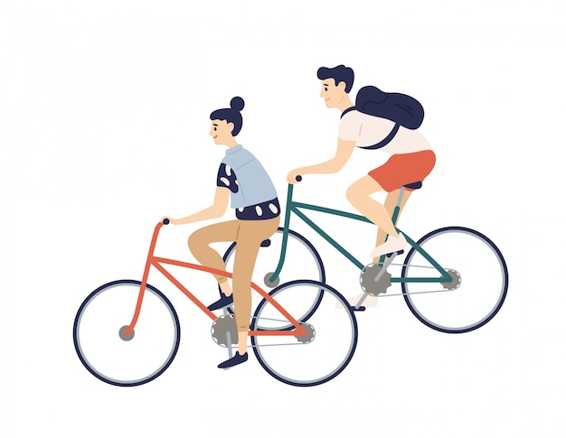 Милая романтическая пара езда на велосипеде. молодой мужчина и женщина на велосипедах изолированных иллюстрация