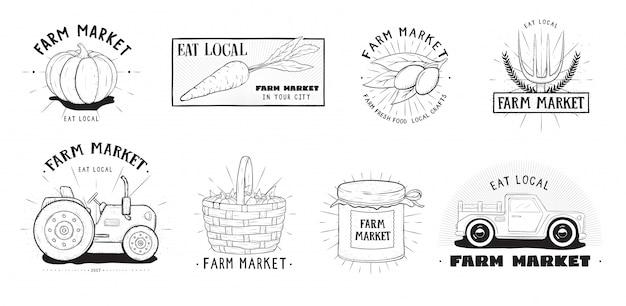 Набор наклеек свежих продуктов. фарм-маркет различных логотипов коллекции. ручной обращается векторные иллюстрации.