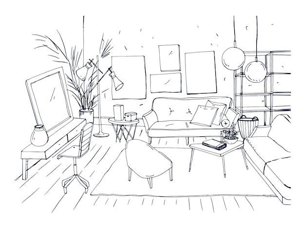 ソファ、椅子、コーヒーテーブル、その他のモダンな家具を備えたリビングルームのインテリアのモノクロの描画。スカンジナビアまたはロフトスタイルで家具付きのアパートの手描きのスケッチ。ベクトルイラスト。