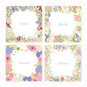 さまざまな季節の名前とフレームが付いた正方形のカードテンプレートのコレクション。美しい野生の咲く花、開花植物、葉、果実でできています。カラフルな季節のベクトル図