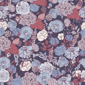 Цветочный бесшовный образец с цветами, старинный фон. красочная иллюстрация.
