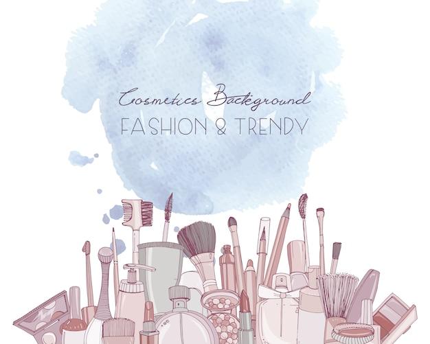 Мода косметика горизонтальный фон с макияжем художник объектов и акварель пятно. рисованной иллюстрации с местом для текста.