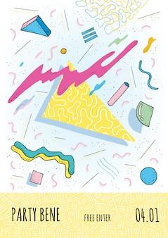 Плакат в стиле мемфиса с геометрическими современными формами.