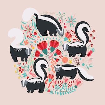 Иллюстрация в плоском стиле с мультфильм цветочных элементов, цветов и скунсов.