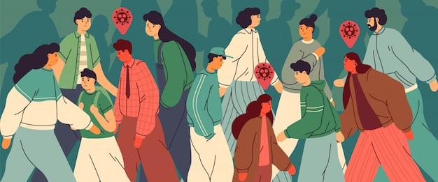 流行病の間に市内の人々の群衆。感染した人は健康です。ウイルス感染、感染症発生の概念。コロナウイルスのパンデミック。フラット漫画スタイルのイラスト。