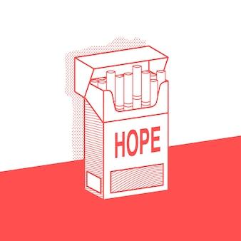 碑文の希望を持つタバコのパック。イラスト。