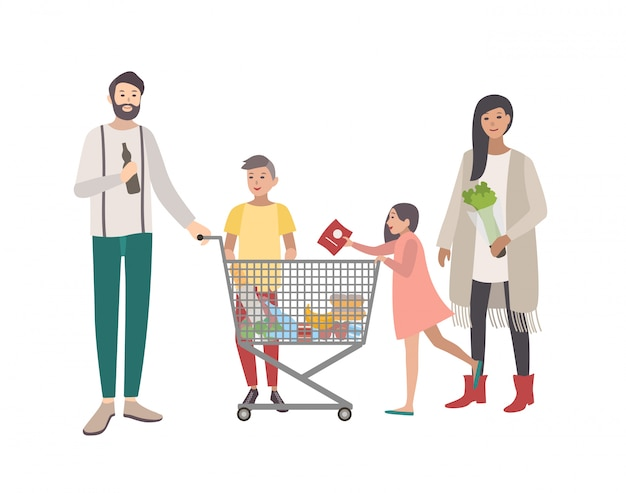 スーパーマーケットやショップのコンセプト。幸せな家族、ショッピングカートを持つ人々。カラフルなフラットイラスト。