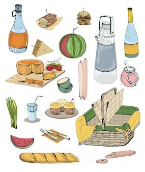 手描きのピクニックアイテムセット。さまざまな食べ物、飲み物、バスケットのイラスト集。
