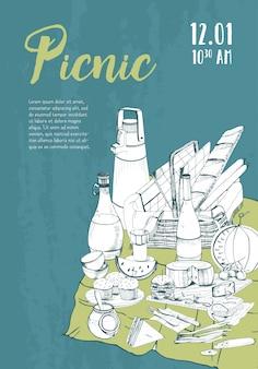 テキストと食べ物のイラストのための場所で手描きピクニックポスター。