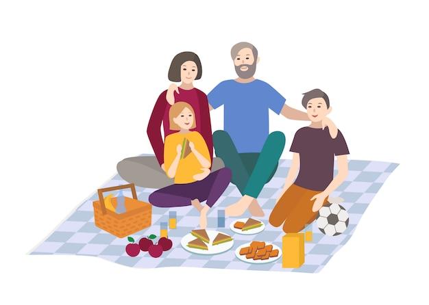 ピクニック、イラスト。お子様連れのご家族、屋外でリラックス。フラットスタイルの人々のレクリエーションシーン。