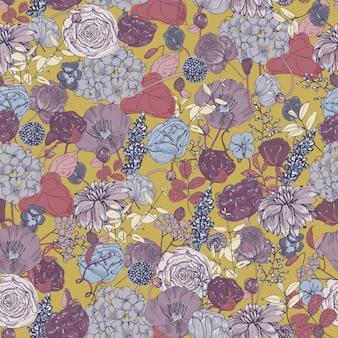 花、ビンテージ背景と花のシームレスなパターン。カラフルなイラスト。