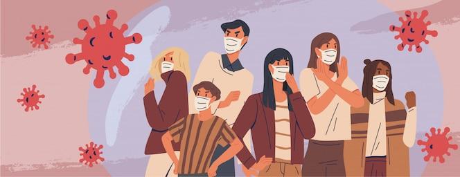 Толпа людей, одетых в медицинские маски баннер. профилактика, защита человека от вспышки пневмонии. концепция эпидемии коронавируса. респираторные заболевания, распространение вируса. иллюстрация