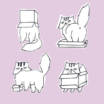 ボックスセットの面白い、怒っているキャラクター猫。
