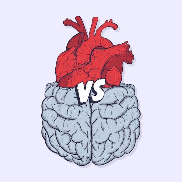 心臓対脳。愛の戦いに対する心の概念、難しい選択。手描きイラスト。