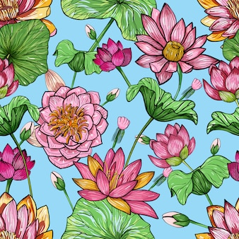 蓮の花のシームレスなパターン。手描きのカラフルな背景。