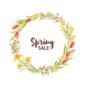 カラフルな咲く季節の庭の花の葉と春のセールのレタリングで作られた円形フレームまたは花輪。自然な春の装飾。モダンなフラットスタイルの花のイラスト。