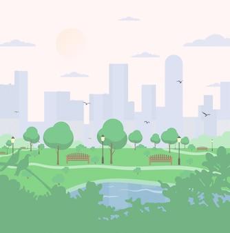 高層ビルの背景に都市公園。木々、茂み、湖、鳥、ランタン、ベンチのある風景します。フラットな漫画のスタイルのカラフルな正方形のイラスト。