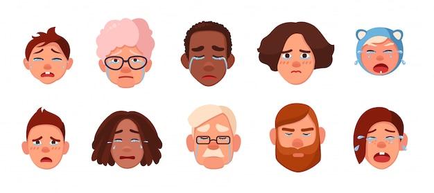 泣いている人の顔のセット。さまざまな悲しい人々、子供、若者、大人、古いコレクション。漫画のスタイルのカラフルなイラスト。