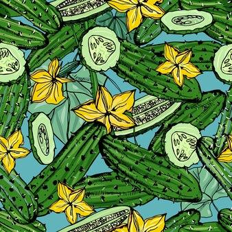 キュウリ、スライス、花とのシームレスなパターン。カラフルな手描きの背景野菜。壁紙。