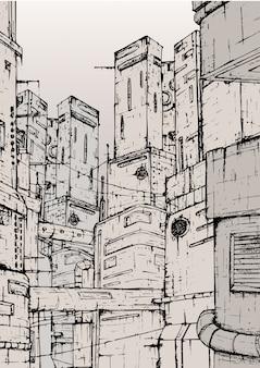 Город киберпанк. фантастические постройки. ручной обращается монохромный рисунок.