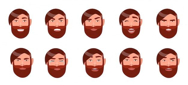 Набор мужских эмоций. лицо бородатого парня. мультипликационный персонаж с различным выражением лица коллекции. красочная иллюстрация в плоском стиле.
