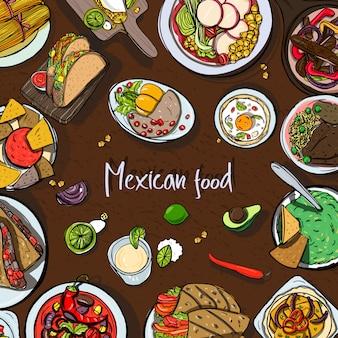 メキシコ料理、伝統的な料理と正方形の背景。様々な料理で手描きのカラフルなイラスト。