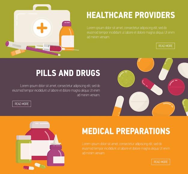 Коллекция горизонтальных веб-баннер шаблонов с аптечкой, таблетки, лекарства, лекарства и медицинские инструменты. плоские красочные иллюстрации для рекламы онлайн аптеки или аптеки