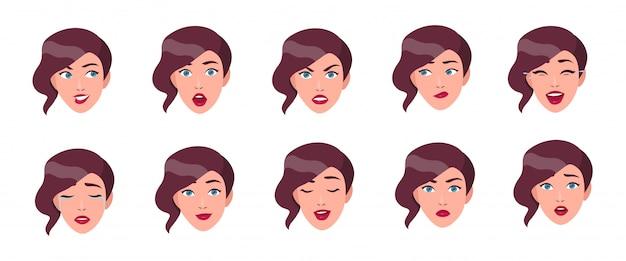 Набор женских эмоций. девушка лицо с различными выражением лица коллекции. красочная иллюстрация в плоском стиле.