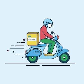 食料品店、ショップ、スーパーマーケットからの製品とカートンボックスが付いているスクーターに乗ってヘルメットの男。フードデリバリーサービスワーカーまたは宅配便。モダンなラインアートスタイルのカラーイラスト。