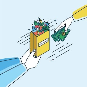 果物と野菜の紙袋を押しながらお金を渡す手。オンライン食料品やフードデリバリーサービスでの注文や購入の概念。ラインアートスタイルのカラフルなイラスト。