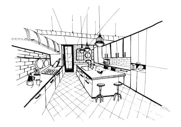 ロフトスタイルのモダンなキッチンインテリア。手描きのスケッチ図。