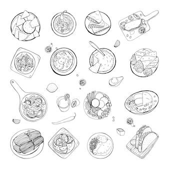 Набор мексиканской кухни. различные блюда коллекции острый фасолевый суп чили, начос, тортилья, фашито, кесадилья, тако, гуакамоле. нарисованный рукой эскиз, черно-белая иллюстрация.