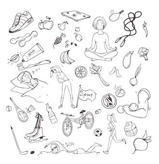 Здоровый образ жизни рисованной набор. коллекция каракули объектов с фитнес, спорт, фрукты, символы йоги. контурные векторные иллюстрации.