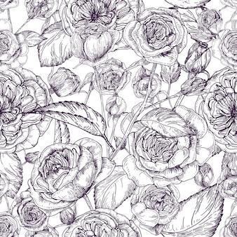 Красивые подробные пионовидные розы бесшовные модели. ручной обращается цветущие цветы и листья.