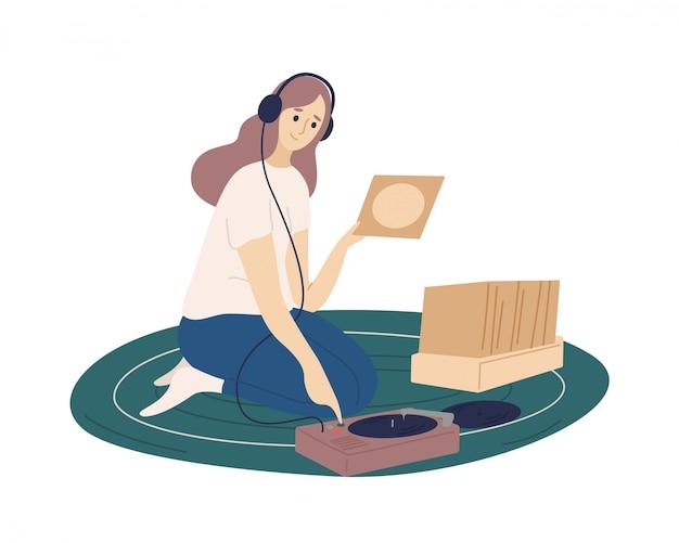 Смешная девчонка носить наушники положить виниловые пластинки в проигрыватель и слушать музыку. плоский мультфильм красочные иллюстрации.