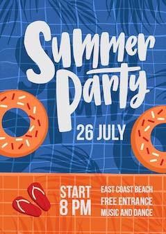 Современный шаблон флаера или плаката для летней вечеринки на открытом воздухе с бассейном, кольцами для плавания, тенями пальм и шлепанцами и местом для текста.