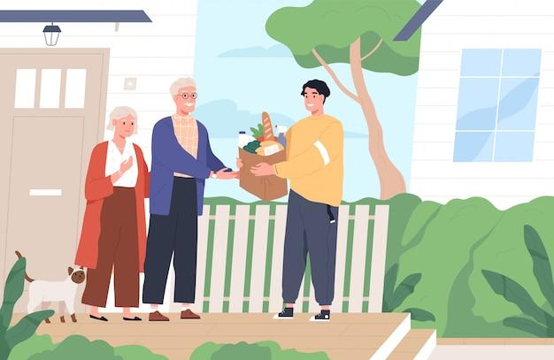 老夫婦に製品の袋を与える若い男。ショッピングのヘルプと配信サービス。コロナウイルスの発生中にボランティアが高齢者をサポートします。フラットな漫画のスタイルのイラスト