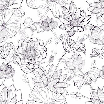 蓮の花のシームレスなパターン。手描きのモノクロ背景。