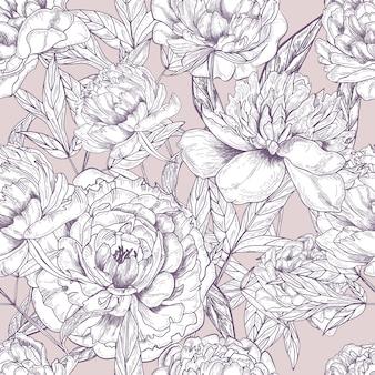 美しい詳細な牡丹のシームレスなパターン。手描きの花の花と葉。黒と白のヴィンテージのイラスト。