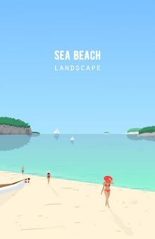 Морской пейзаж с людьми, идущими на песчаном пляже и парусные лодки, плавающие в лазурном море. приморский пейзаж с океанского побережья и яхт на горизонте. летний отдых, тропический курорт. иллюстрации.